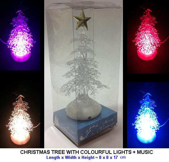 CHRISTMAS TREE WITH COLOURFUL LIGHTS + MUSIC - AC & USB POWER