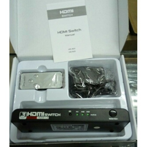 HDMI SWITCH 1080P 3-1 (3 in to 1 out) + remote + adaptor