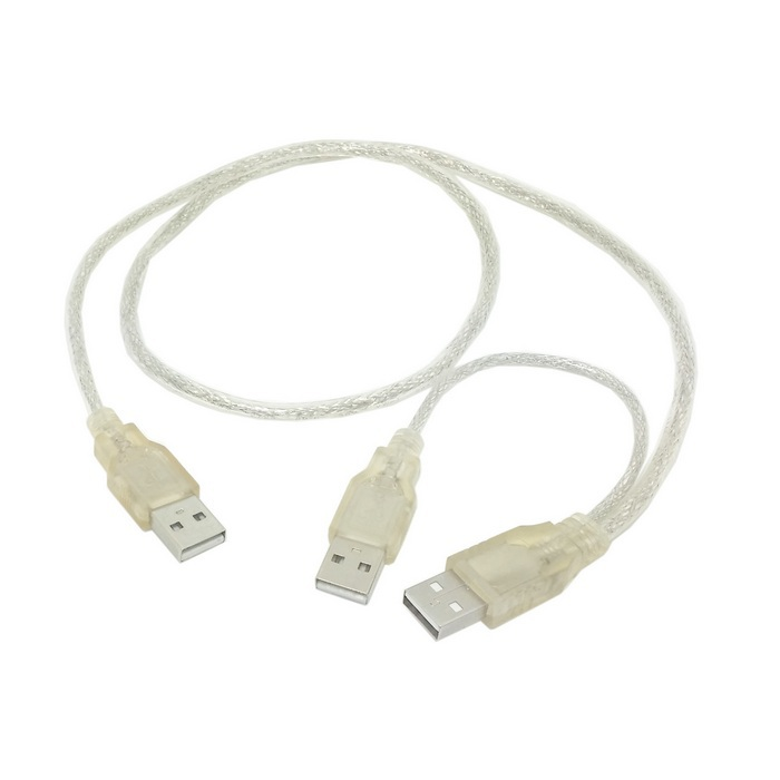 KABEL USB 2.0 MALE to 2 MALE Y cabang u tambah power 70 cm