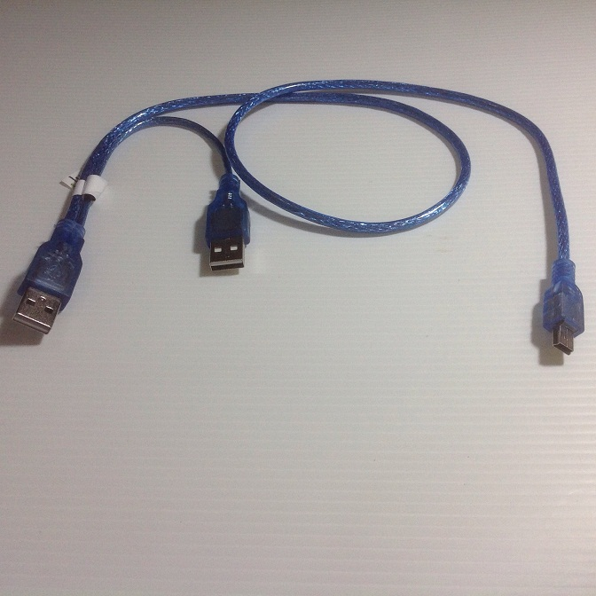 KABEL USB 2.0 MINI 5 PIN MALE Y cabang u tambah power 70 cm