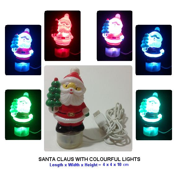 SANTA CLAUS WITH COLOURFUL LIGHTS - AC & USB POWER