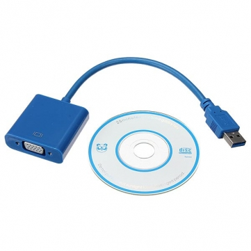 USB3.0 to VGA 15 pin MALE FEMALE 50 cm (bisa u USB2.0)